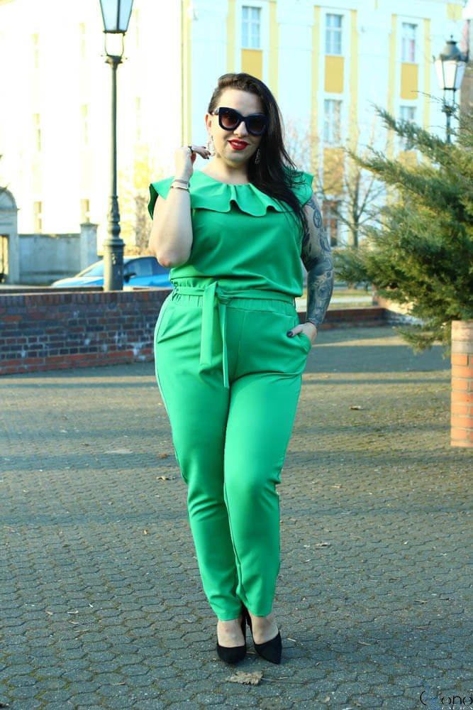 Zielony Kombinezon damski ISOLA Plus Size