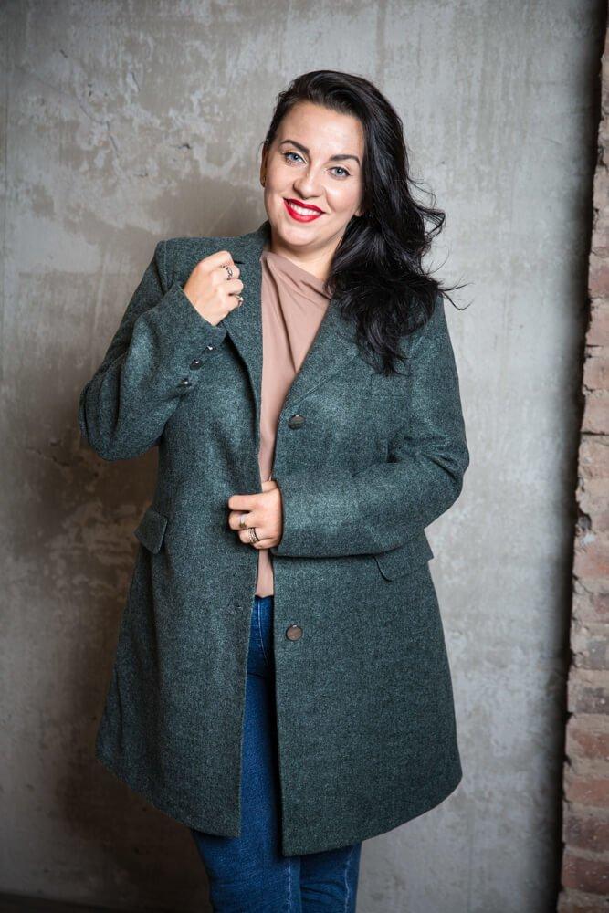 Zielony Płaszcz FIERA Damski Plus Size