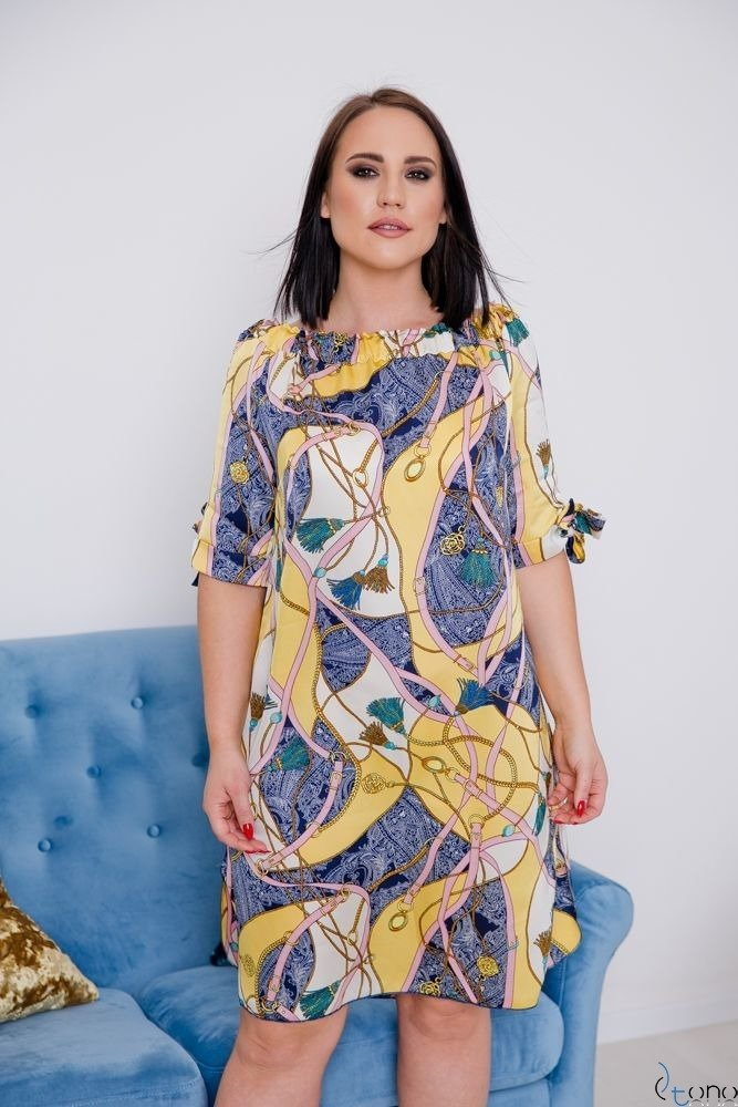 Złoto-różowa Sukienka VALENCIA Hiszpanka Plus Size