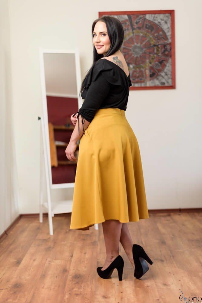 Żółta Spódnica LAMES Plus Size