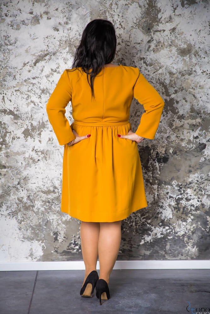 Żółta Sukienka MAKAN Kopertowa Plus Size