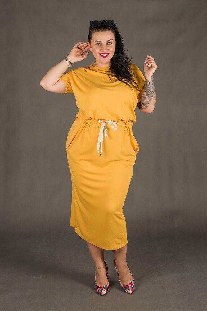 Żółta Sukienka Maxi MORANDI Plus Size