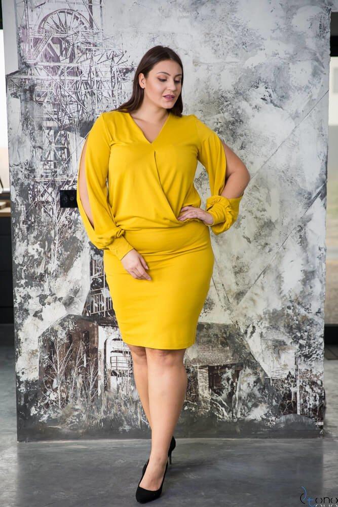 Żółta Sukienka SONYA Plus Size